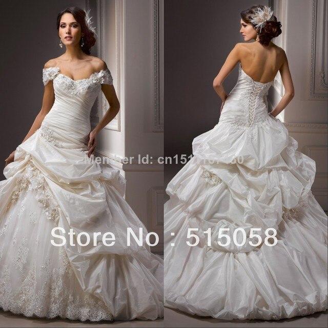 on sale 1651c e013a US $225.39 |Schöne Appliques Schatz Backless Ivory Taft Meerjungfrau  hochzeitskleider 2014 Luxus Königlichen Brautkleider Kostenloser Versand in  ...