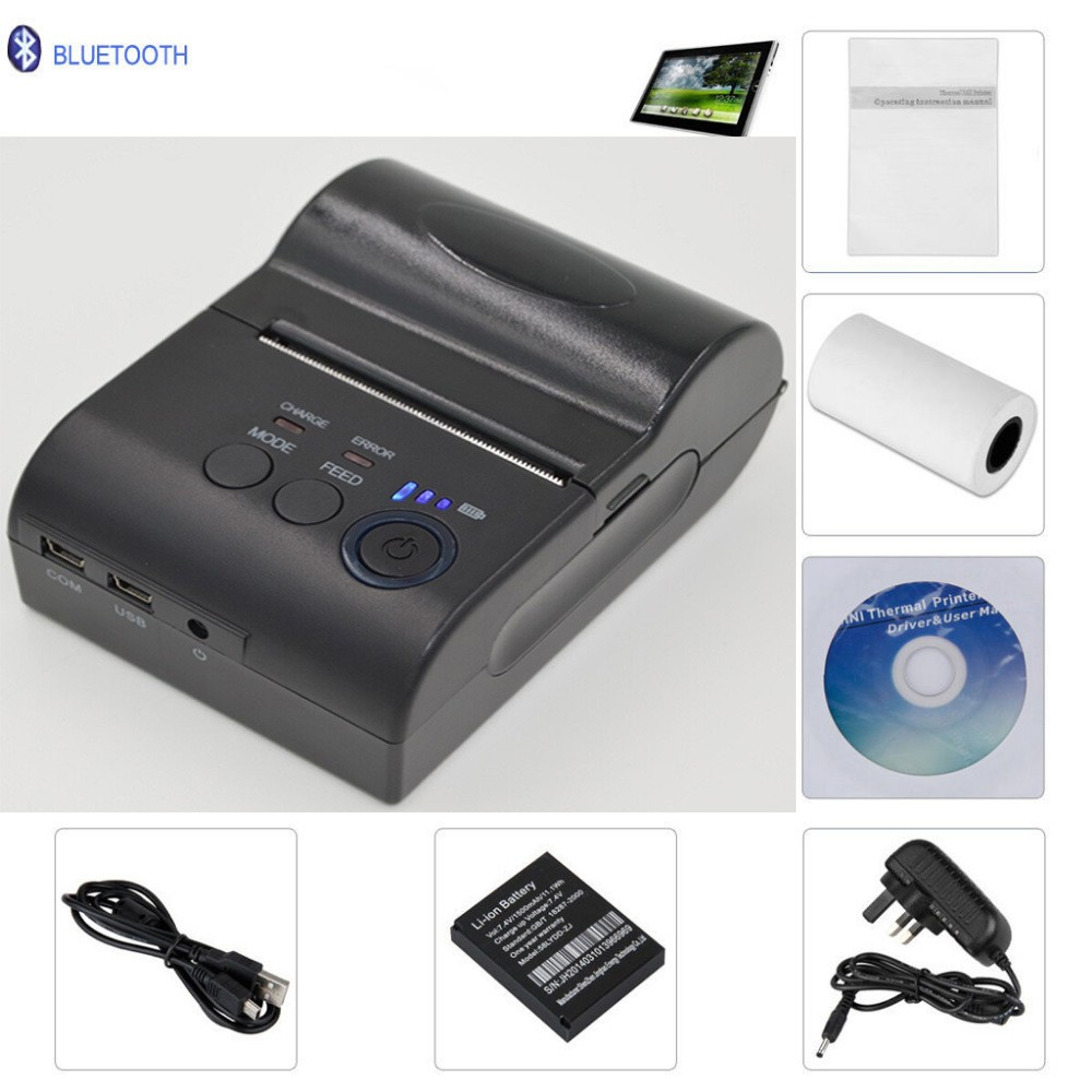 2pcs/lot 58mm Bluetooth Wireless Mobile Thermal Receipt POS Printer USB + serial port  For Android serial port best price 80mm desktop direct thermal printer for bill ticket receipt ocpp 802