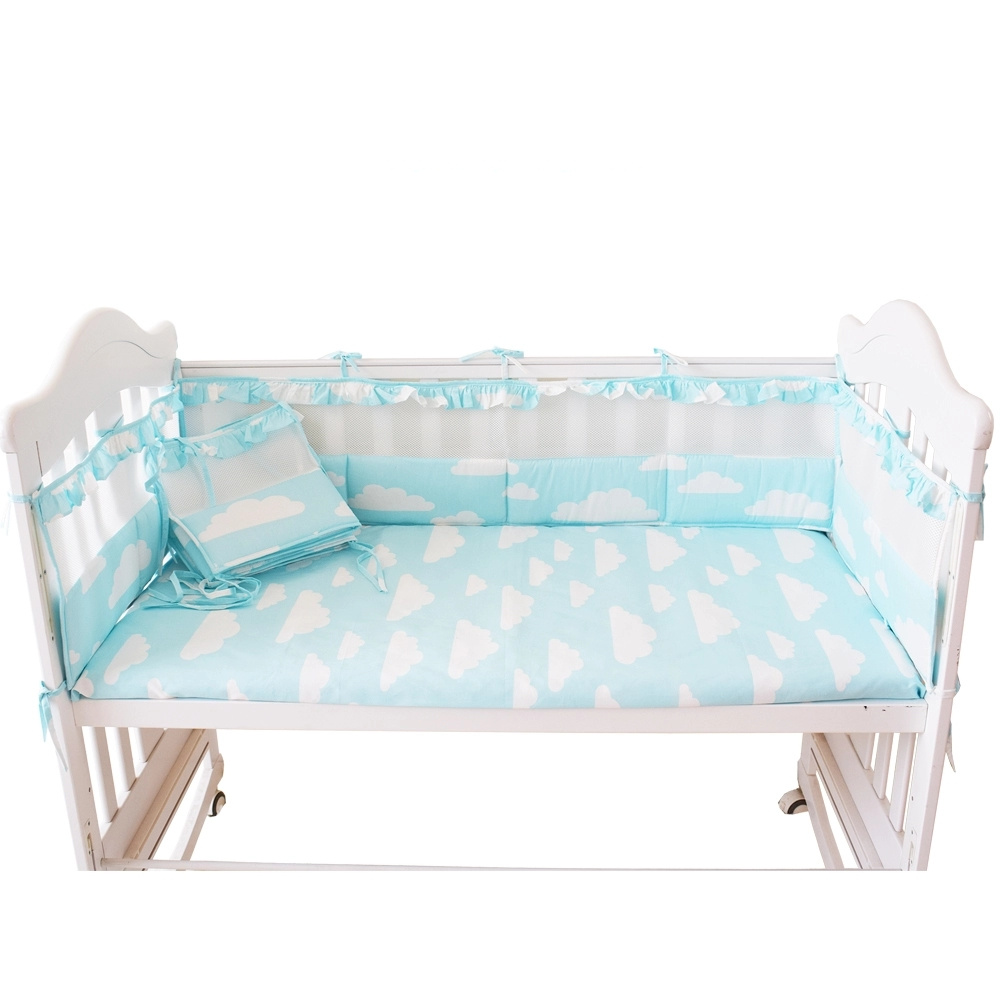 5pcs Sweet Style Baby Bedding Set For Girls Crib Bumpers With Floral Edge Breathable Baby Bed Linens Set Cot Bumpers Flat Sheet
