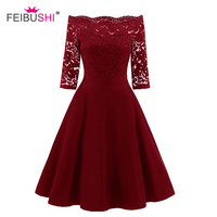 Robe Femme Embroidery Vintage Lace Dress Women Off Shoulder Dresses Patchwork Half Sleeve Casual Evening Party