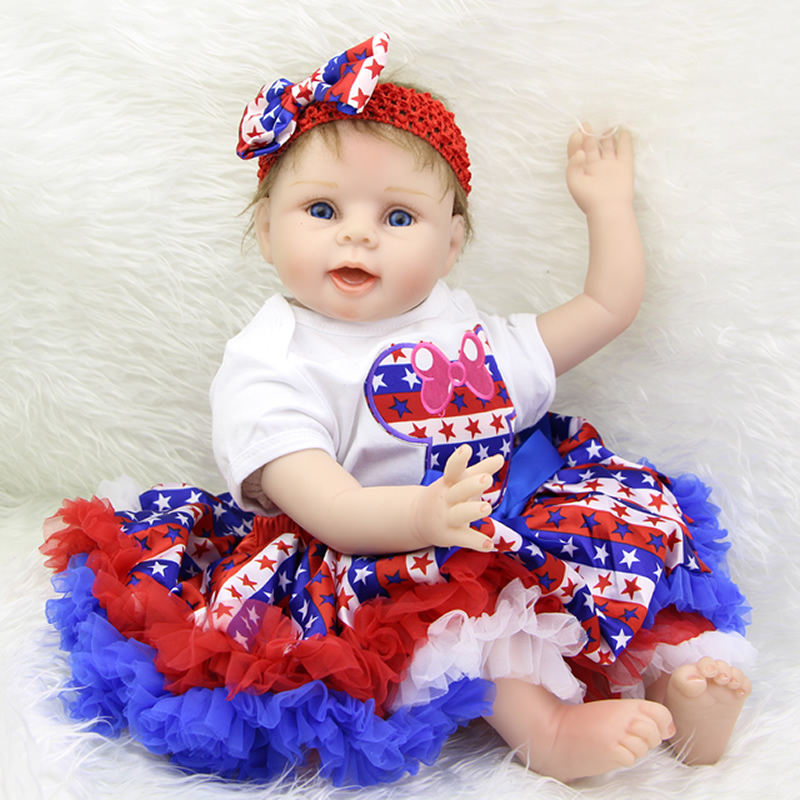 So Truly Real 22 Inch Soft Silicone Lifelike Reborn Babies Realistic Newborn Girl Dolls With Dress Kids Birthday Xmas Gift  realistic full vinyl 18 inch american doll girl baby reborn newborn dolls so truly real princess girls kids birthday xmas gift