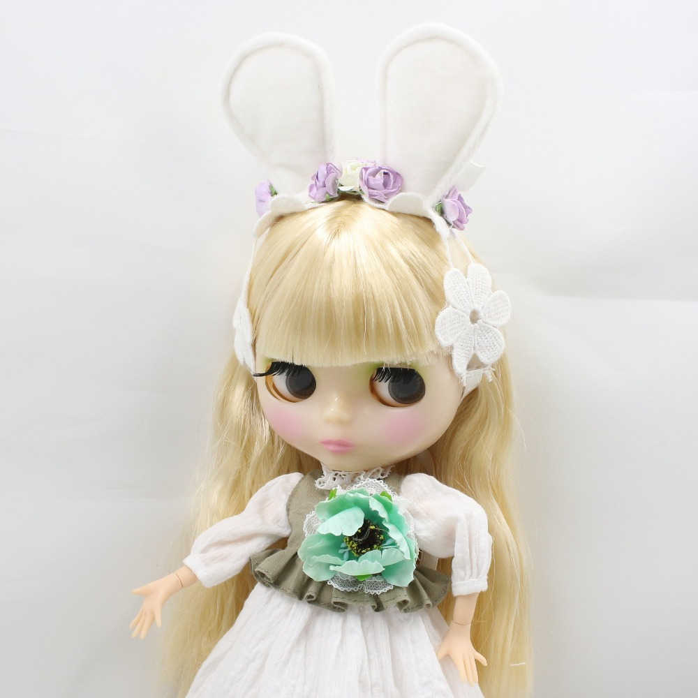 Neo Blythe Doll Floral Lace Dress with Bow, Ear & Headdress 3