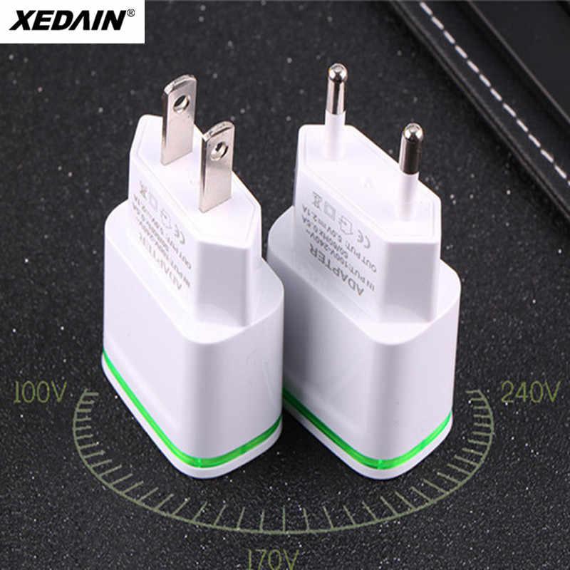 XEDAIN 2 منافذ USB شاحن الهاتف 5 فولت/2.1A الاتحاد الأوروبي/الولايات المتحدة الأمريكية التوصيل محول حائط جهاز مايكرو بيانات شحن آيفون هواوي مصباح ليد المحمول
