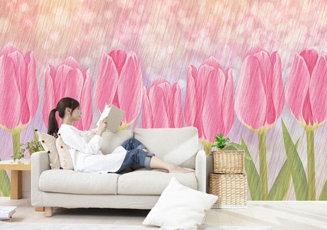 Custom 3D murals,beautiful art pink tulip flowers papel de parede ...
