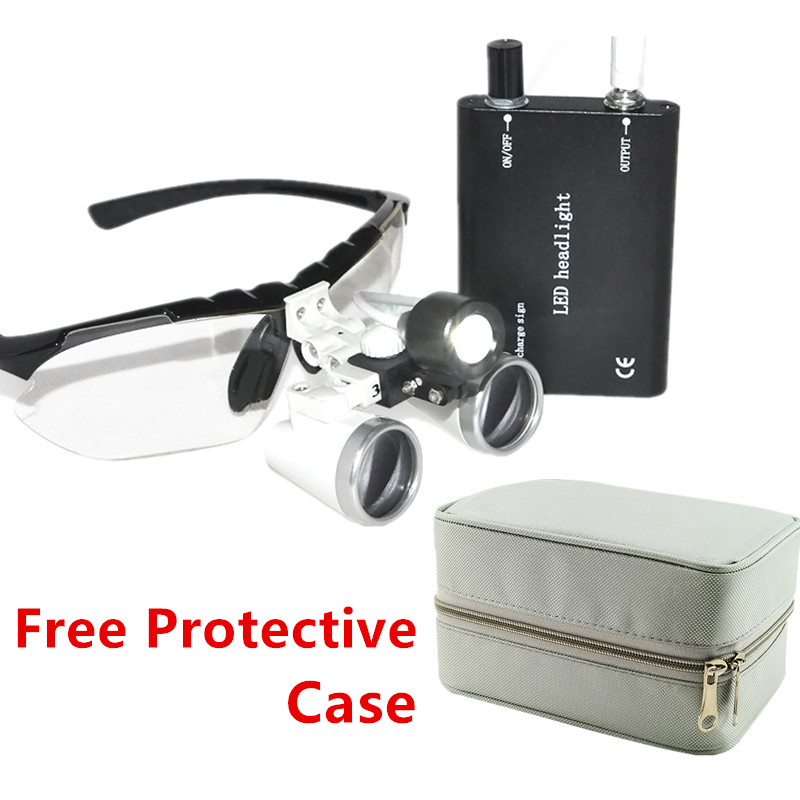 Quality Guarantee 3.5X Loupe Glasses Magnifier/Binocular dental loupes Dental Surgical Binocular with LED Head Light Lamp black 3 5x420mm dental surgical loupe magnifier portable medical binocular glasses oral camera head light lamp teeth whitening