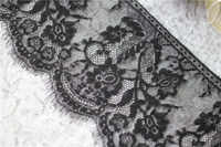 (16cm Wide) 6 meters Black |White Eyelash Lace Trim DIY Sewing Applique For Lace Dress French Chantilly Net Lace Fabric