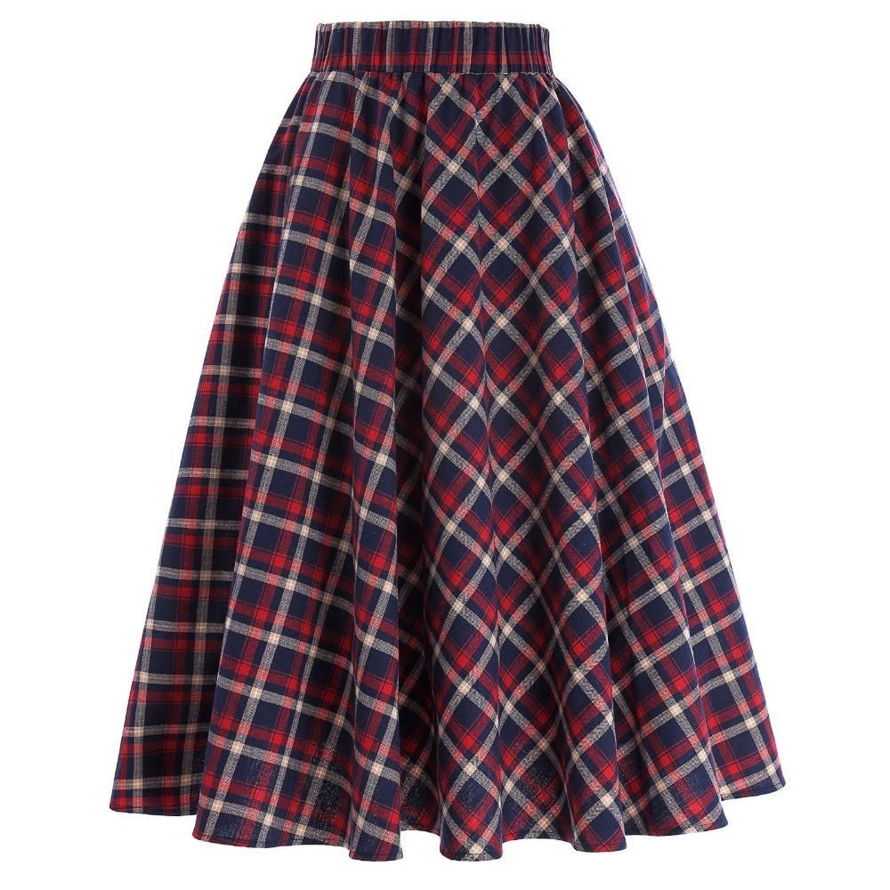 Angemessen Plaid Röcke Für Frauen Vintage Mode Raster A-line Britischen Stil Falten Skater Rock Saia Faldas Hohe Taille Herbst Rock Geschickte Herstellung