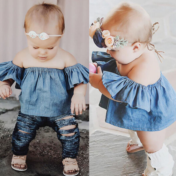 bad0e26c0ffc Children Girls Cute Tops T-shirt Off Shoulder Tees Girl Clothes Toddlers  Kids Baby Girls Clothing Tops Pullover Short Sleeve