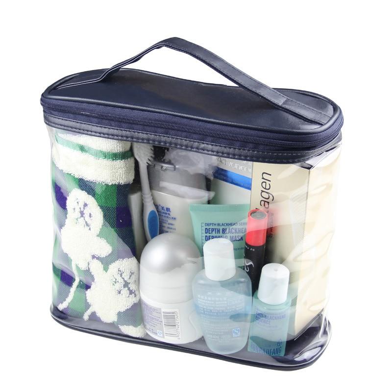 Portable Clear Toiletry Case Makeup Bag Shower Wash Bag Transparent PVC Pouch Handbag Storage Organizer Bag For Men And Women