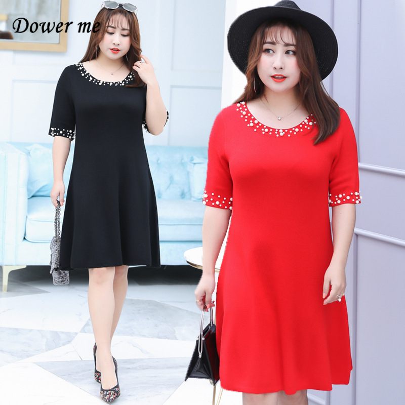 Spring Summer Ladies Frocks 2018 Plus Size Red Black Loose A Line O Neck Pearls Knitted Fashion Casual Women Dress YT7052