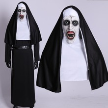 Купить с кэшбэком The Nun Horror Cosplay Mask With Costume Valak Virgin Latex Masks Adult Deluxe Clothing Halloween Party Costumes DropShipping