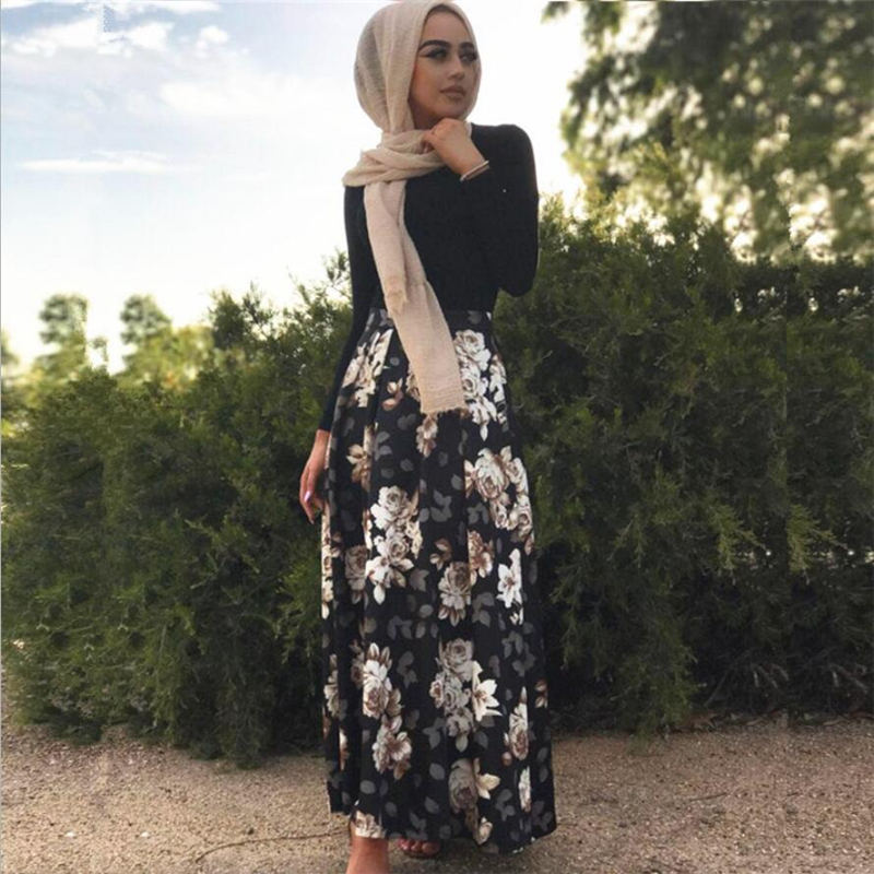 2018 Floral printed Long Muslim skirt sexy turkish arab dubai Islamic clothing maxi pleated skirt female