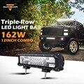 Auxbeam 12 pulgadas 162 w cree chips triple row offroad led light bar combo Luz de trabajo para ATV SUV 4WD 4X4 Barco Del Carro Del Coche Del Faro