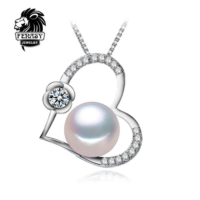 Fenasy pingente para os amantes colar de pérolas naturais, 2017 coração novo amor jóias charme mulheres colar de pingente de pedra natural