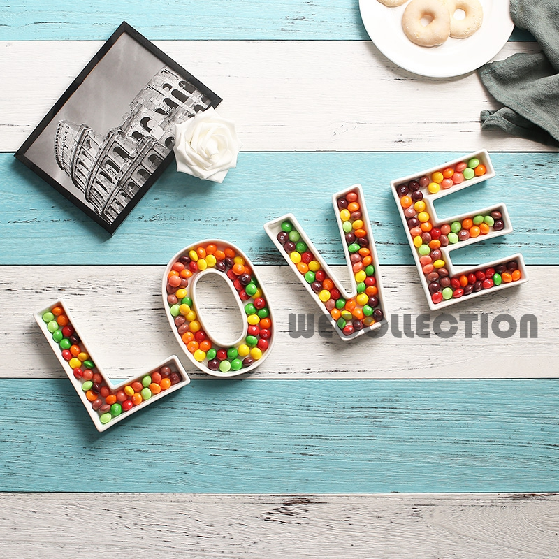 LOVE ceramic candy Letter Dishes for candy table love dessert plate wedding candy bar ideas baby