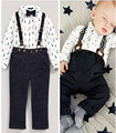 bebe 2 two piece Set Outfit  DY090C newborn Baby Boy Clothes Sets Toddler Shirt Top+Bib Pants Overall Costume Kids Clothing Set