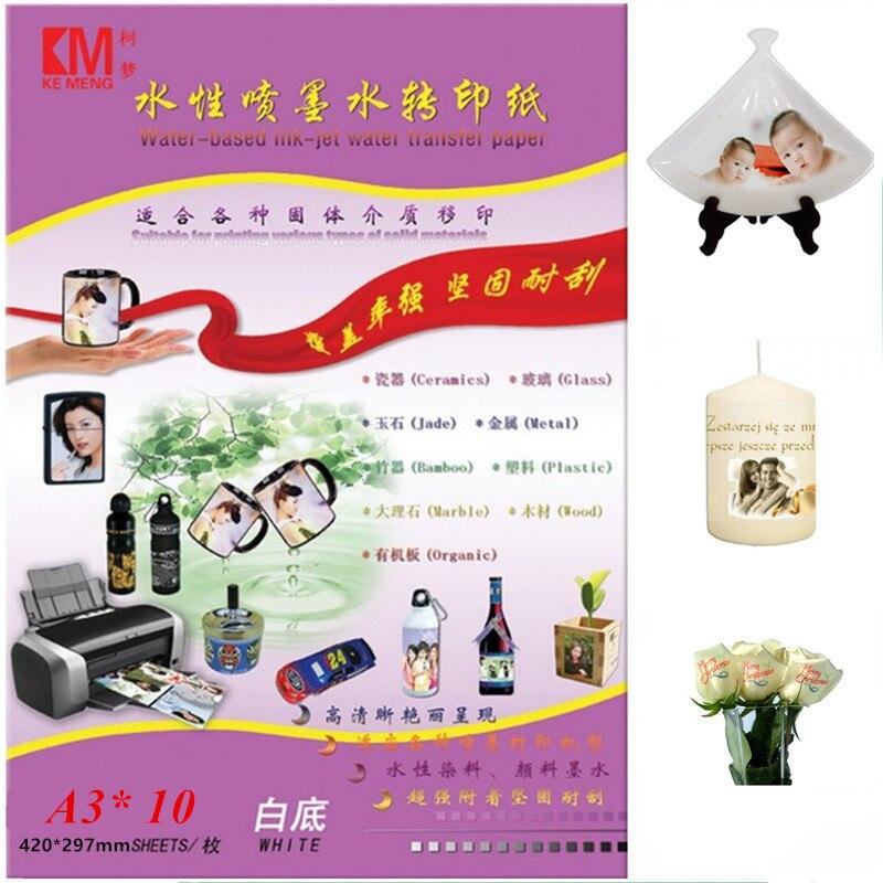 10 Teilelos Inkjet Wasserrutsche Aufkleber Papier A3 Größe Weißen Hintergrund Farbe Waterslide Aufkleber Transferpapier Mit Inkjet Drucker