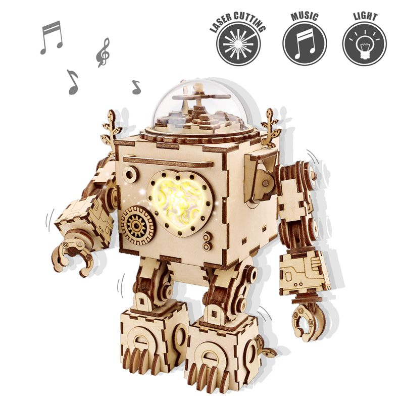 Robud 3D Puzzle DIY Action & Toy Figures Assembled Wooden Jointed Robot Model for Children Adult Gift Music Box Am601 surwish magic mystery box puzzle wooden box for adult hiding jewelry cash