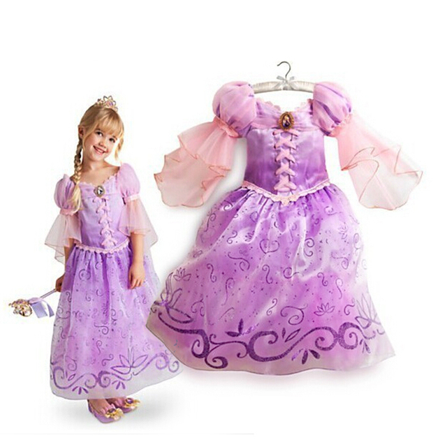 2016 New Children Kids Cosplay Dresses Rapunzel Costume Princess Wear Perform Clothes HOT Sale free shipping
