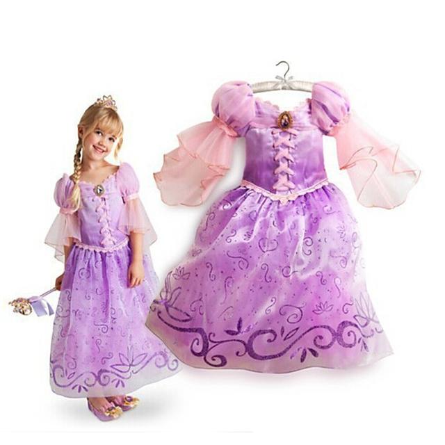 2016 Nuevos Niños Niños Cosplay Vestidos Rapunzel Princesa Costume Wear Realice Ropa Venta CALIENTE del envío libre