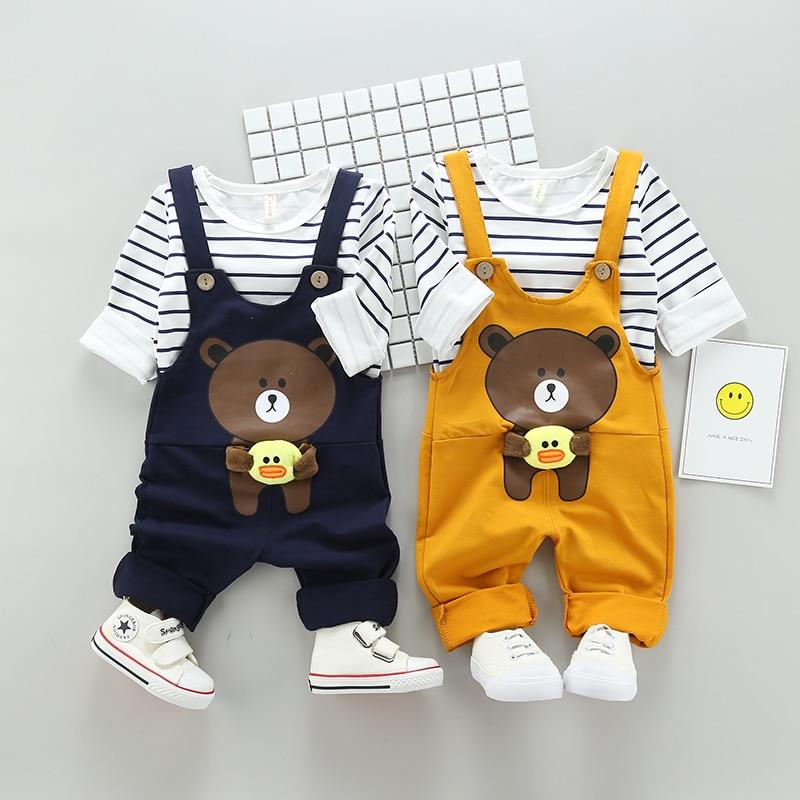 Spring Sport Outside Set Baby Bear Suite Set School Uniforms Performance T Shirt+ Bib Boy Girl Clothes T-38