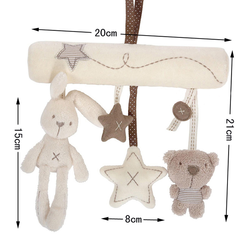 Free Shipping New 2015 Mamas& Papas Cot Hanging Toy Baby Rattle Toy Soft Plush Rabbit Musical Mobile Products Babies Infant