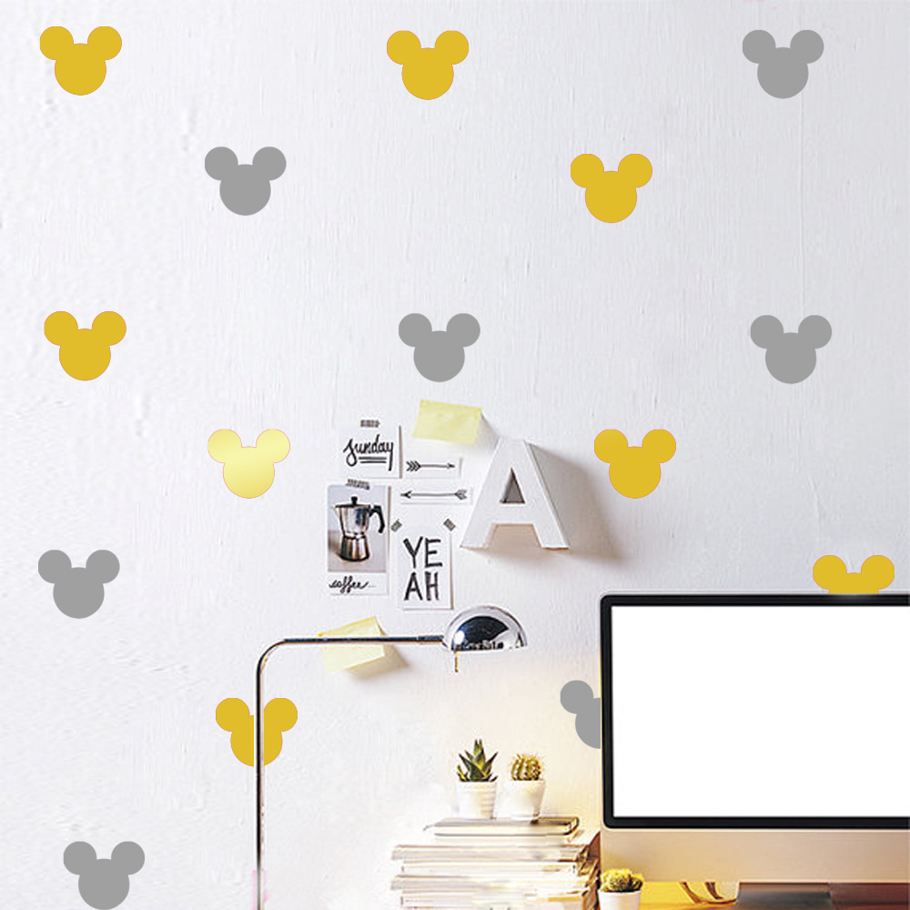 12pcs set Children Bed Room Living Room Mickey Mouse Cartoon Wall Stickers Self Adhesive DIY Removable Wall Decoration Sticker in Wall Stickers from Home Garden