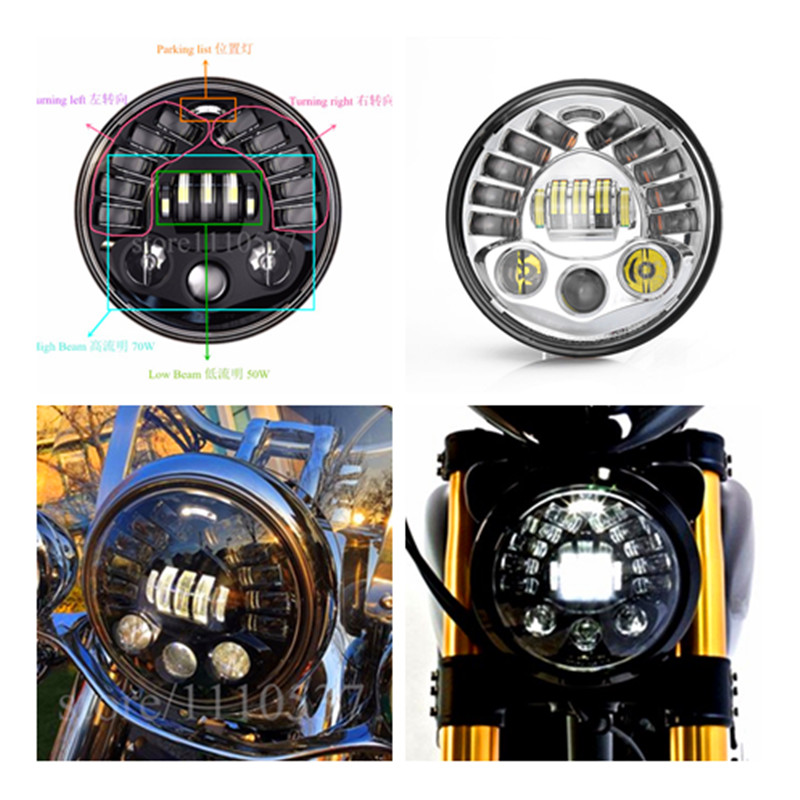 Light Sourcing 7 Inch with Hi/Lo Beam DRL Left Right Turning light Parking lamp Headlight with For Harley Glide FLHT Motorcycle