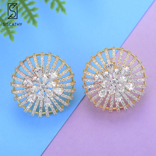 Siscathy 23*23mm Trendy Flower Shape Hollow Cubic Zirconia Inlaid Stud Earrings For Women Engagement Wedding Party Jewelry siscathy fashion wedding jewelry sets flower shape pendant chains necklace stud earrings cubic zirconia inlaid jewelry for women