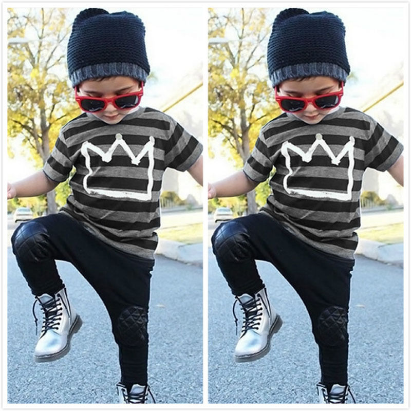Newborn Toddler Kids Baby Boys Outfits T-shirt Toppe + Long Pants - Børnetøj