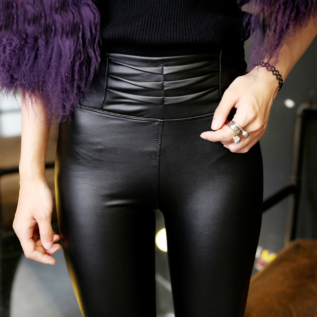 LGG071 Womens Fashion Black PU Leather Leggings Solid Pencil Pants for Female Plus Size Autumn Sexy Stretch Slim Skinny Leggings