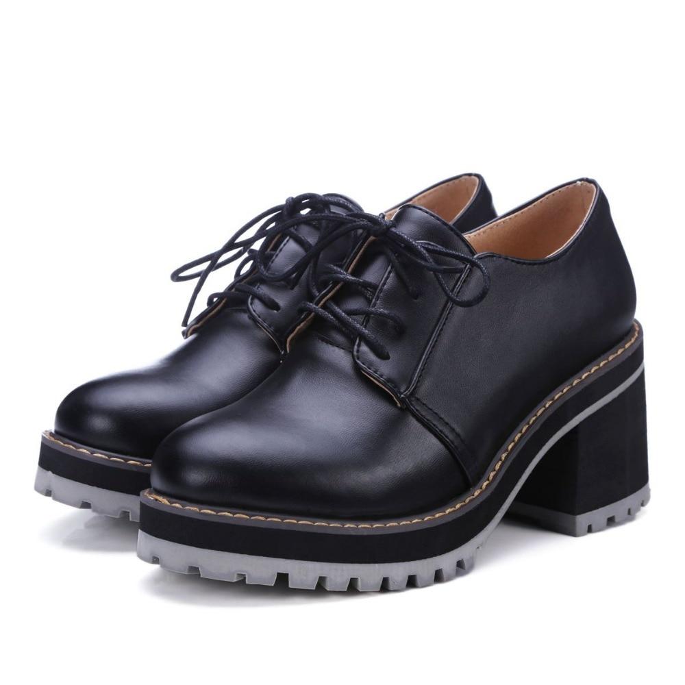 ФОТО 2016 New hot fashion autumn platform round toe pu leather elegant casual handmade solid colors sweet increased women shoes 15
