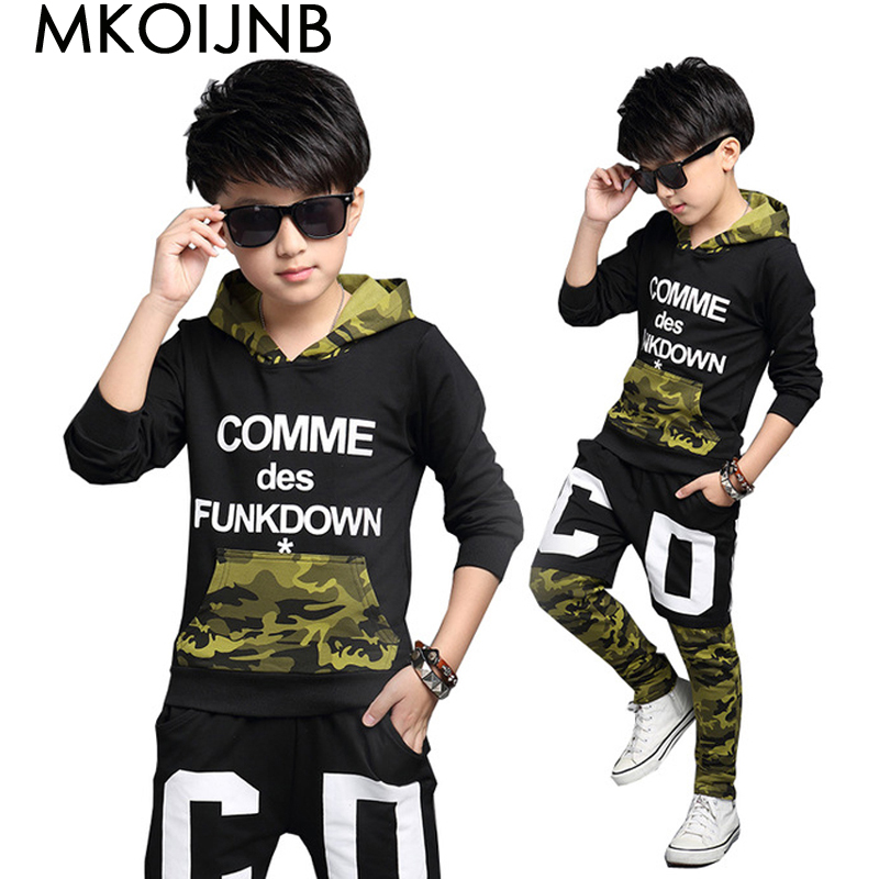 где купить Children Clothing Sets For Boys Camouflage Sports Suits Autumn Kids Tracksuits Teenage Boys Sportswear 4 6 8 10 12 14 16 Years дешево