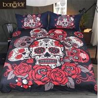 Bonenjoy Skull Bed Linen King Size Comforter Bedding Sets 3pcs Black Red AU Size Bed Set