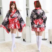 Flores de cerezo rojo vestidos kimono sakura cosplay del anime del traje de halloween pesado tradicional japonés kimono lolita maid dress