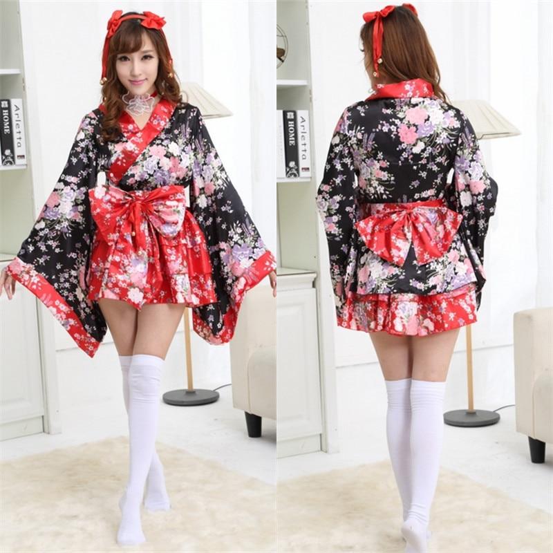 Red Cherry Blossoms Kimono Dresses Halloween Heavy Sakura Cosplay Anime Costume Traditional Japanese Kimono Lolita Maid Dress