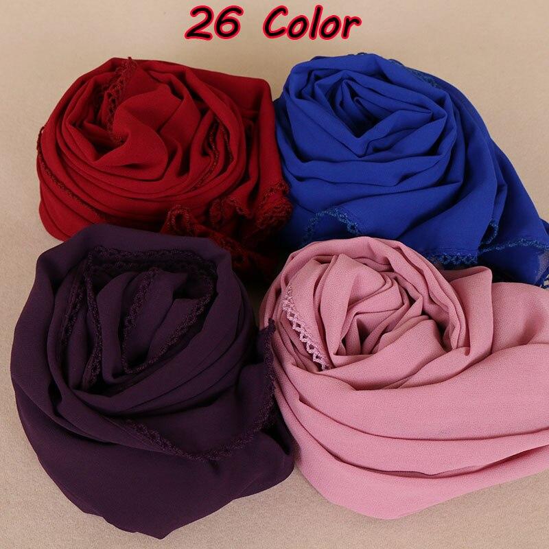 Women bubble chiffon floral lace scarvess