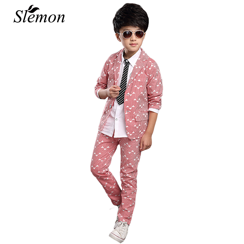 Boys Suits 2017 Spring Autumn New Style Children Kids Wedding Party Clothes 2 Pieces Sets Pink Grey Blue Fashion Blazers Outfits muqgew new fashion 2018 children party