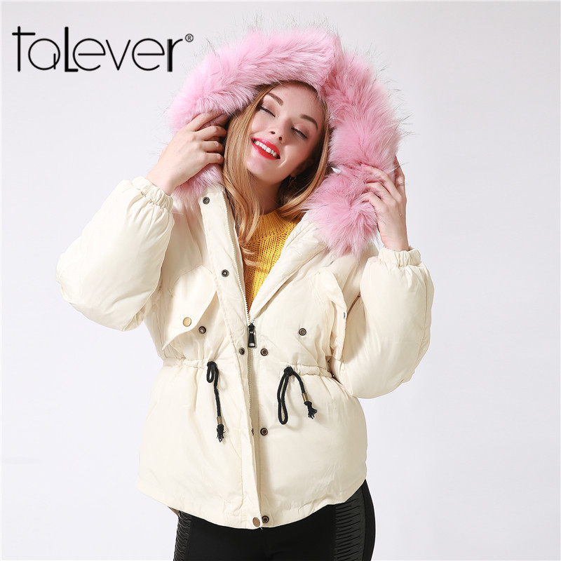 2017 Winter Warm Coat Parkas Faux Big Fur Collar Hooded Cotton Jacket Outwear Casual Overcoat Adjustable Waist Parkas women winter coat leisure big yards hooded fur collar jacket thick warm cotton parkas new style female students overcoat ok238