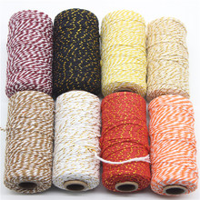 2mm*100m/Lot Double Color Cotton Baker Twine Rope for DIY Handmade Accessories Twisted Cords Packing Decoration