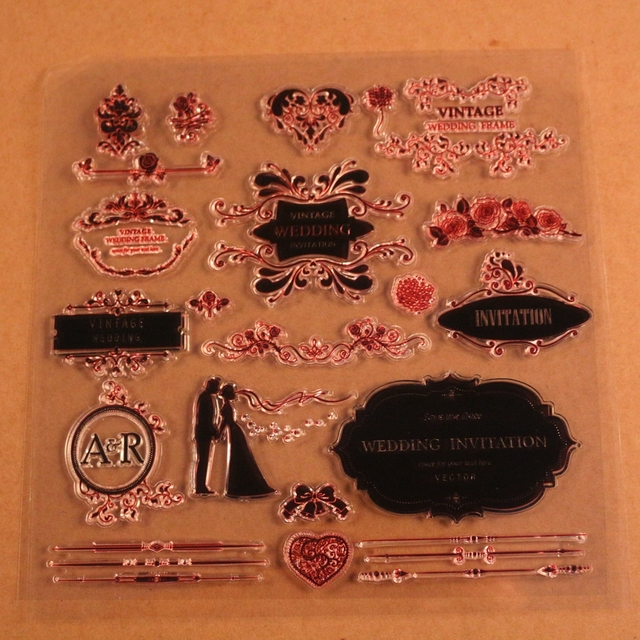 Vintage Wedding Stamps Clear Crafting Stamp Invitation Card Making