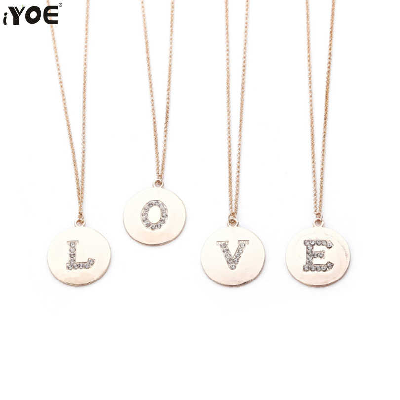 IYOE 26 Letter Crystal Initial Name Choker Women Kids Men Gold Silver Alphabet Big Round Coin Pendant Chain Necklaces Statement