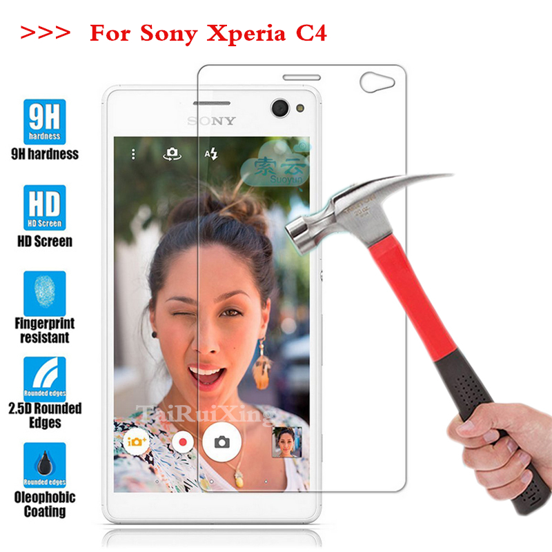 Screen Protector Film 0.3mm 9H 25D Front Premium Tempered Glass For Sony Xperia C4 E5333 Cover For SONY Xperia C4 *