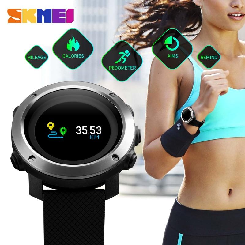 SKMEI montre connectée Hommes pédomètre étanche à l'eau Calories Boussole montres numériques Hommes De Luxe Marque De Mode Sport montres de Montre-Bracelet