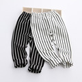 2017 Wholesale Hot Spring Girl Cotton Striped Pants Black White