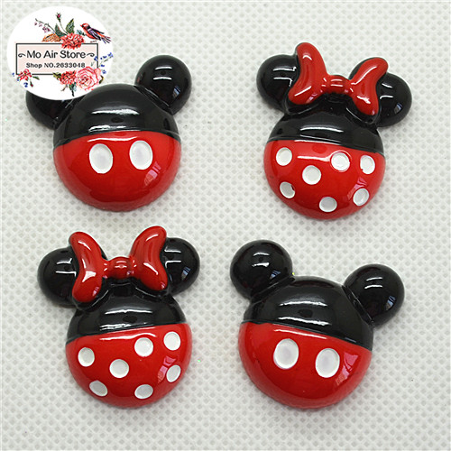 10pcs Resin Kawaii Wave Point Mickey Mouse Flat Back Cabochon Art Decoration Charm Craft DIY Accessories 28mm