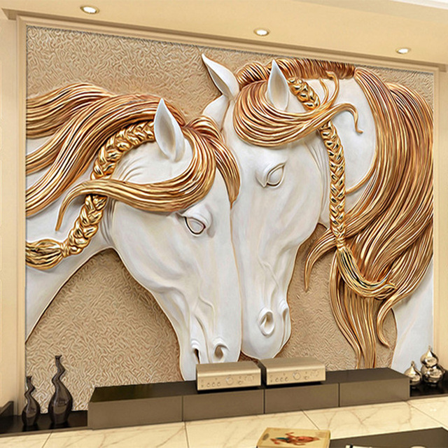 Modern bohemia 3d stereo relief horse photo mural for Escultura mural