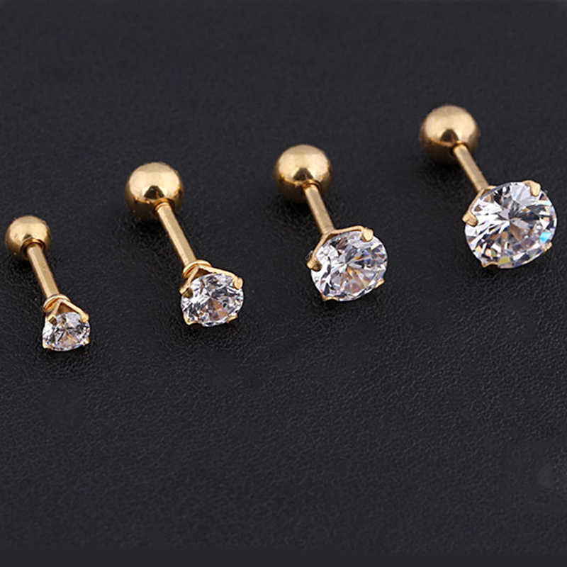 HOMOD 314L Medical Titanium Steel Zircon Earrings Size 3/4/5/6mm Star Crystal Cartilage Earring Ear Piercing DIY Top Body Jewelr