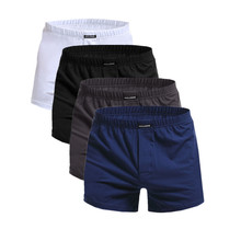 ผู้ชายนักมวยผ้าฝ้ายชุดชั้นในบุรุษ 4 ชิ้น/ล็อต Solid Homme กางเกงนักมวยกับกางเกงขาสั้นเอวยางยืดหลวมผู้ชาย L XL XXL XXXL