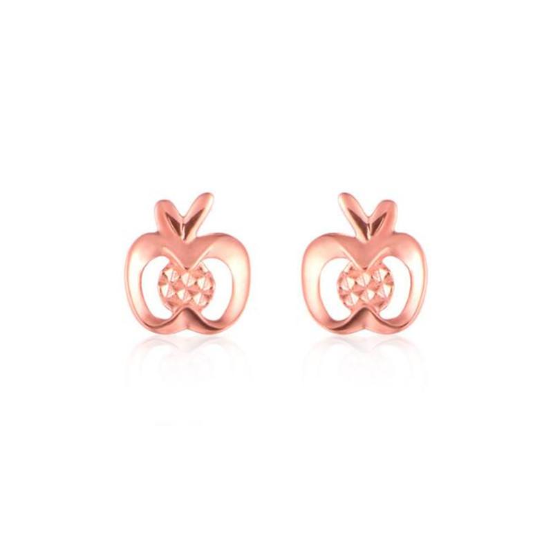 цены на Hot Sale Fashion Lovely Rose Gold Color Apple Stud Earrings For Women High Quality 18K Gold AU750 Jewelry Accessories Wholesale  в интернет-магазинах